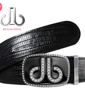Black Diamante Buckle with Black Lizard Patterned Leather Belt
