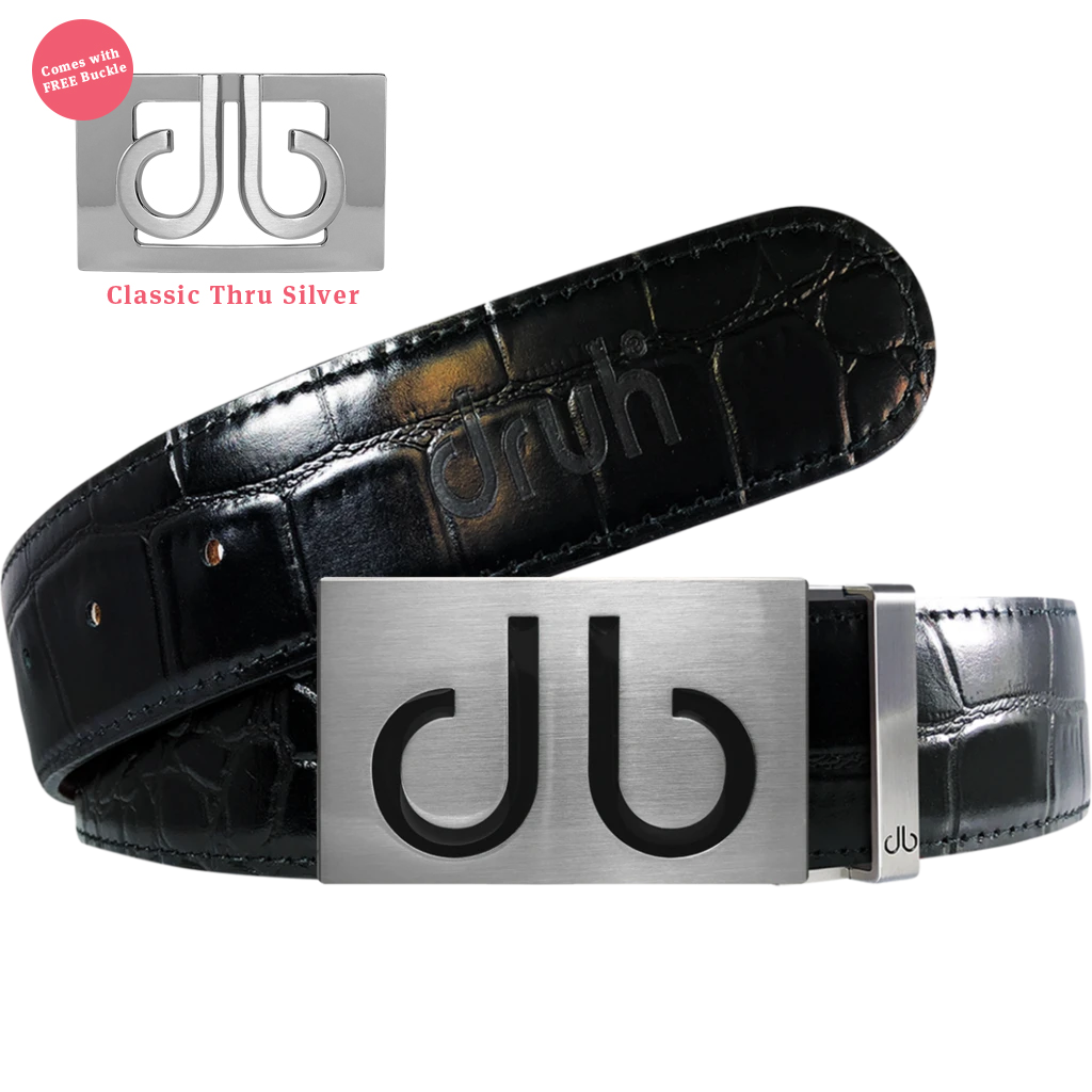 Black Infill Buckle with Black Crocodile Patterned Leather Belt