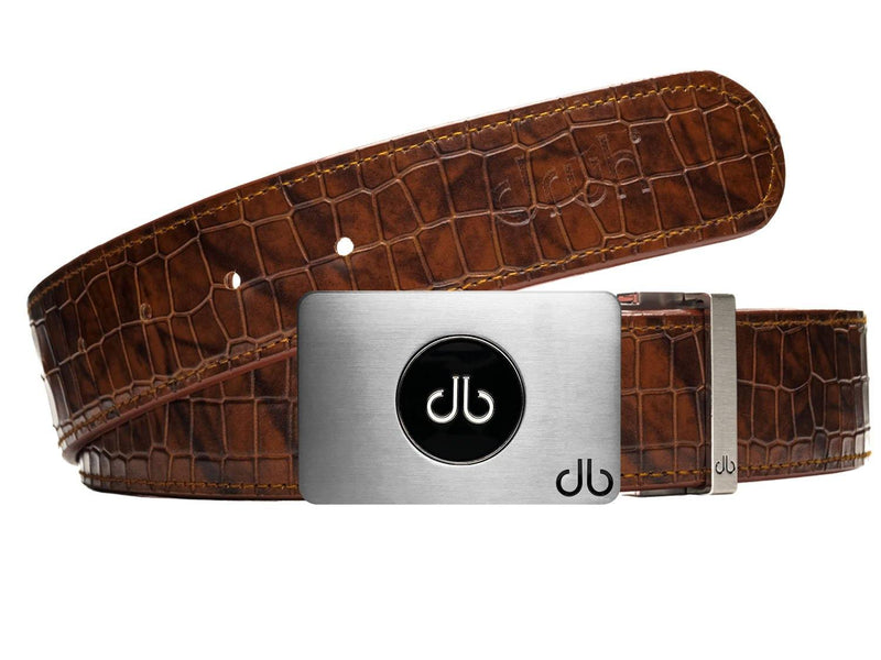 Ballmarker buckle with Brown Belly Crocodile Patterned Belt