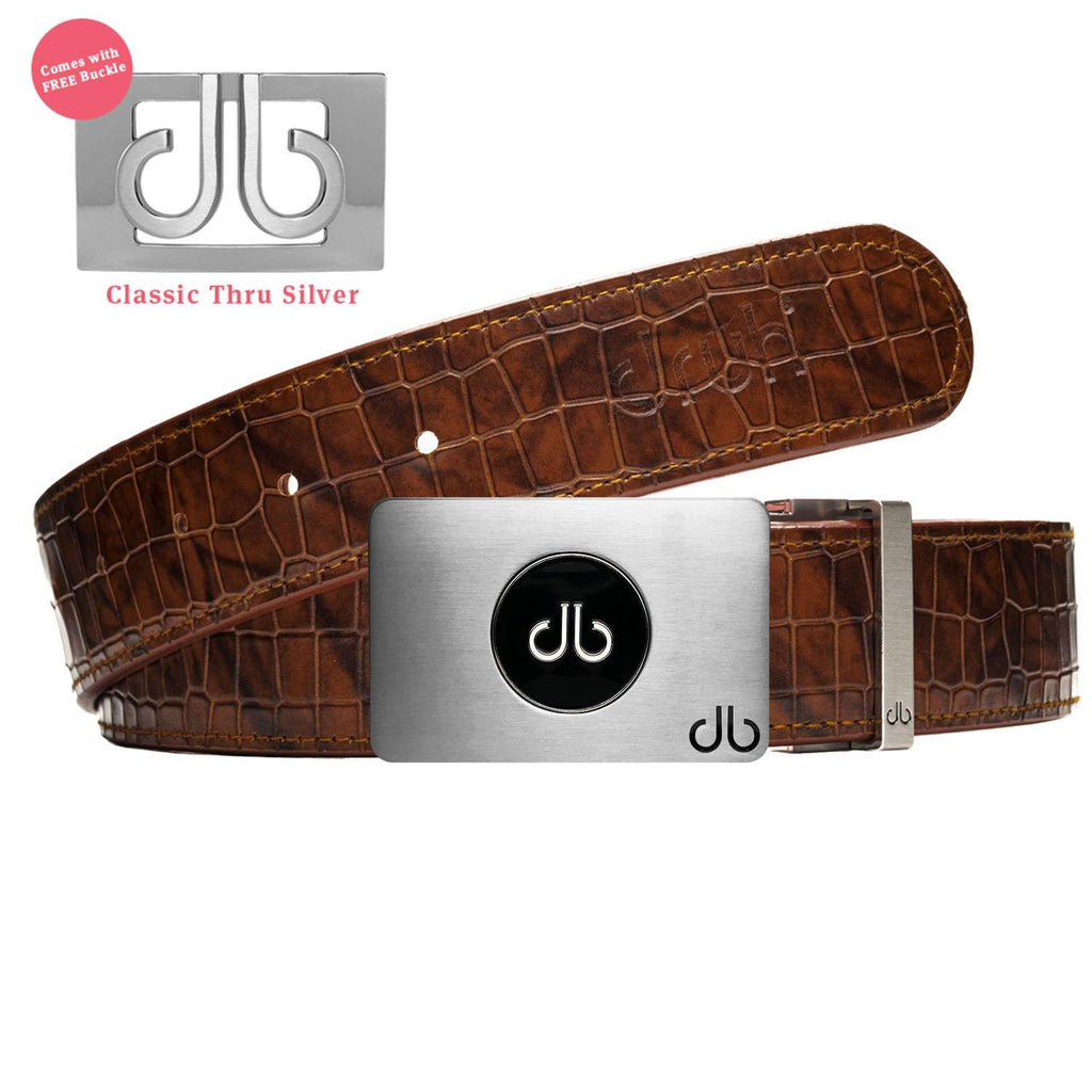 Brown Belly Crocodile Patterned Belt With Ballmarker Buckle