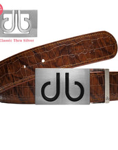 Black Infill buckle with Brown Belly Crocodile Patterned Belt