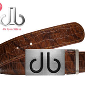 Brown Belly Crocodile Patterned Belt with Infill Buckle