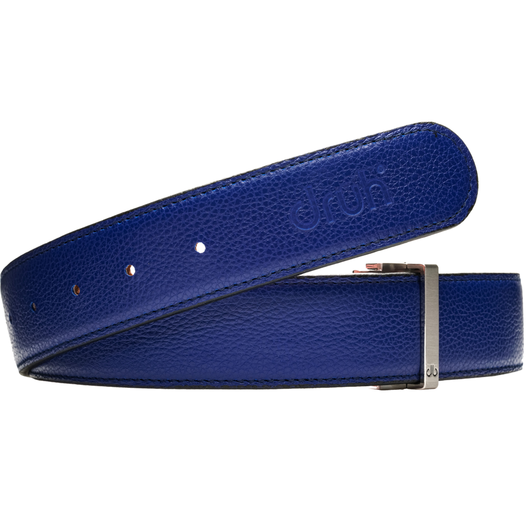 Blue Full Grain Patterned Leather Belt