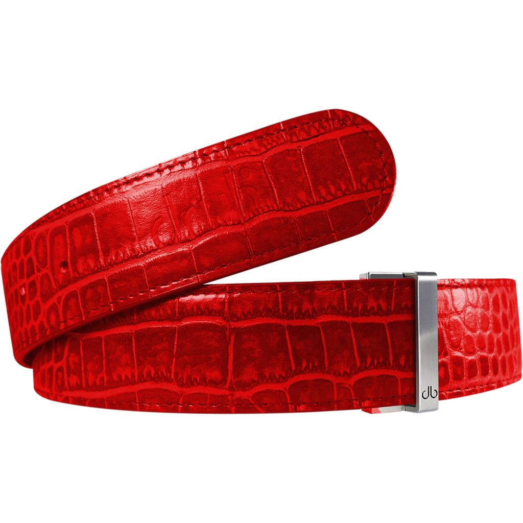 Red Crocodile Texture Leather Belt