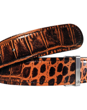 Brown Crocodile Texture Leather Belt