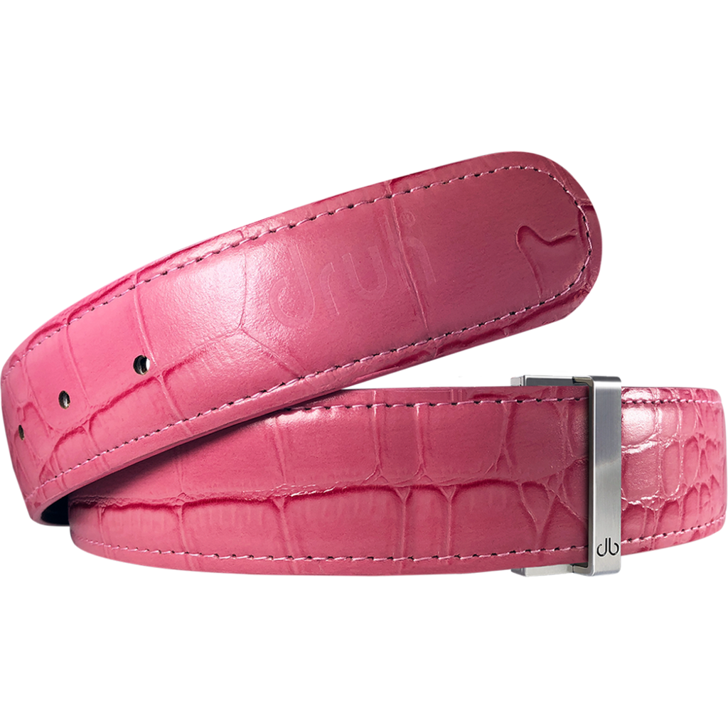 Pink Crocodile Texture Leather Belt