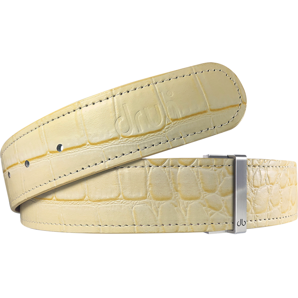 Cream Crocodile Textured Leather Belt