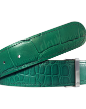 Green Crocodile Texture Leather Belt