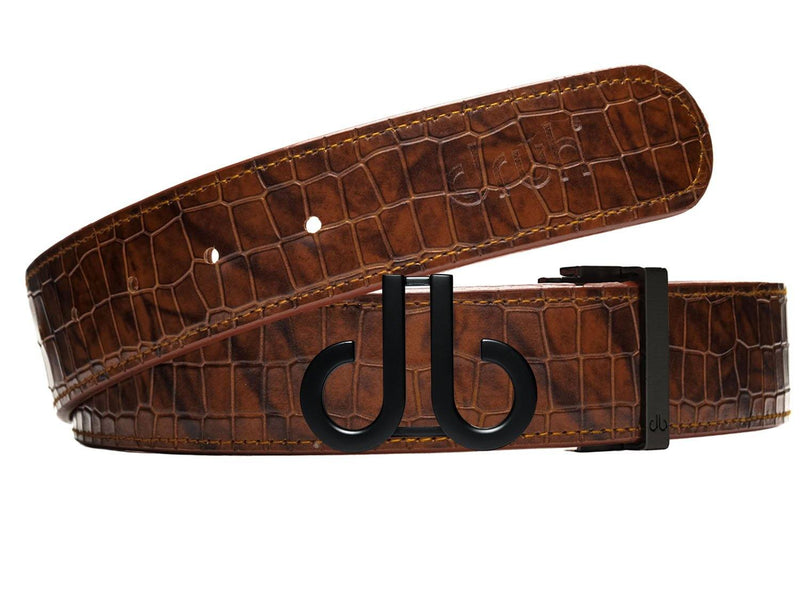 Black Classic DB Icon Buckle with Brown Belly Crocodile Patterned Belt
