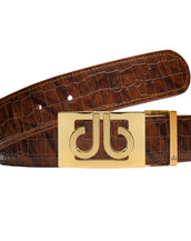 Gold Classic Thru Buckle with Brown Belly Crocodile Patterned Belt