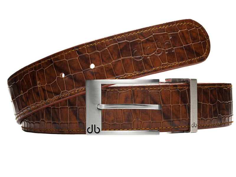 Brown Belly Crocodile Patterned Belt with Silver Classic Prong