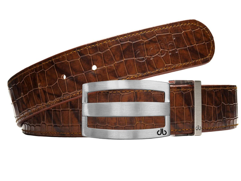 Brown Belly Crocodile Patterned Belt with Classic Stripe Buckle