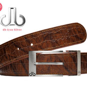 Silver Classic Prong buckle with Brown Belly Crocodile Patterned Belt