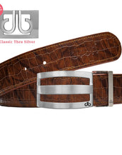 Silver Druh DB Classic Stripe buckle with Brown Belly Crocodile Patterned Belt