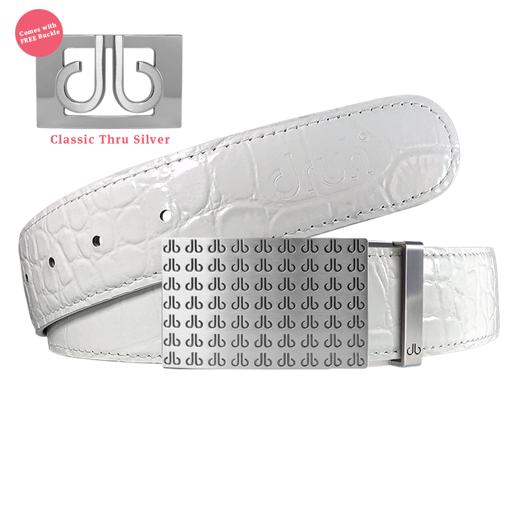 White Crocodile Textured Leather Belt With DB Repeat Buckle