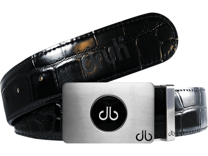Ballmarker Buckle with Black Crocodile Patterned Leather Belt
