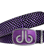 Diamante Purple Buckle and Black & Purple Snakeskin Patterned Leather Belt