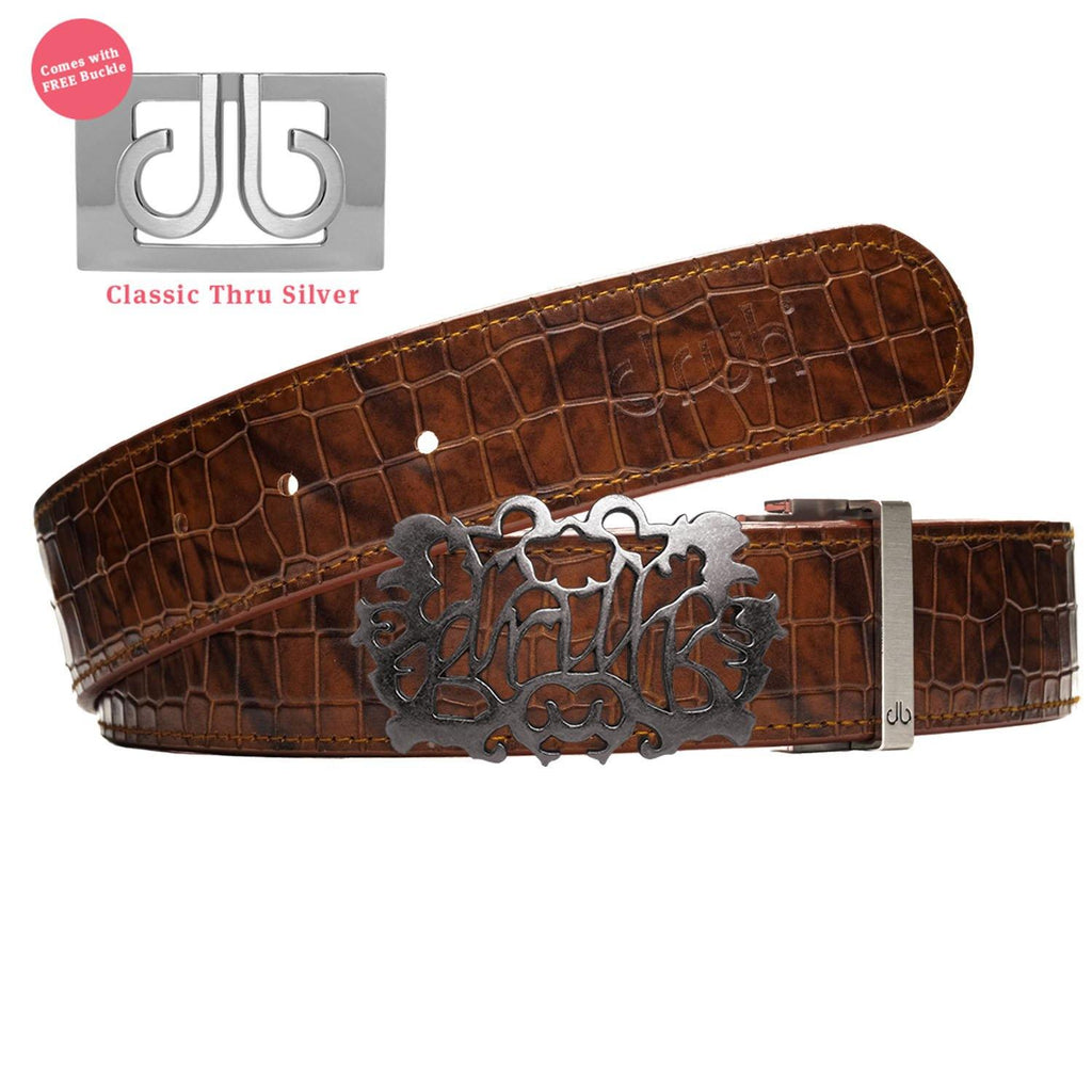 Silver Druh Cutout buckle with Brown Belly Crocodile Patterned Belt