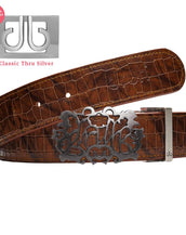 Brown Belly Crocodile Patterned Belt with Cutout Buckle