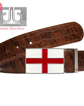 England Flag buckle with Brown Belly Crocodile Patterned Belt