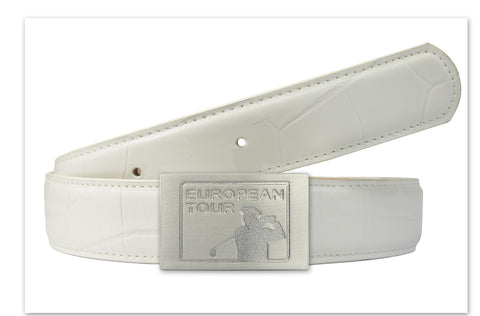 European Tour Limited Edition Belt in White with Buckle