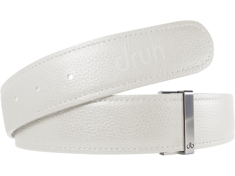 White Full Grain Texture Leather Belt