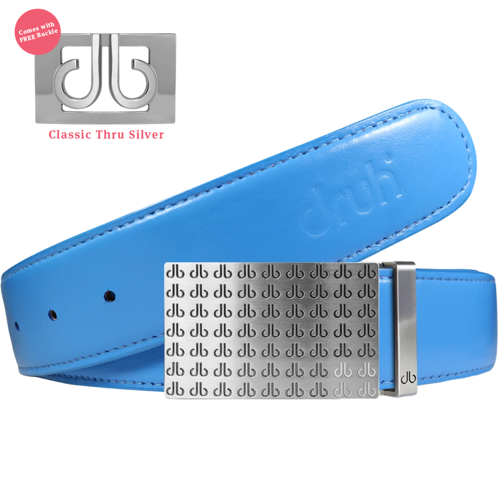 Plain Leather Belt in Sky Blue with Black & White 'db' Repeat Buckle