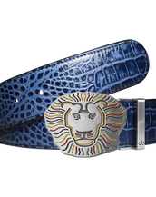 Blue Crocodile Patterned Leather Belt with Lion Buckle
