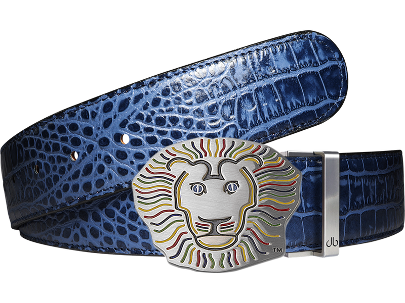 John Daly Crocodile Leather Belt in Blue
