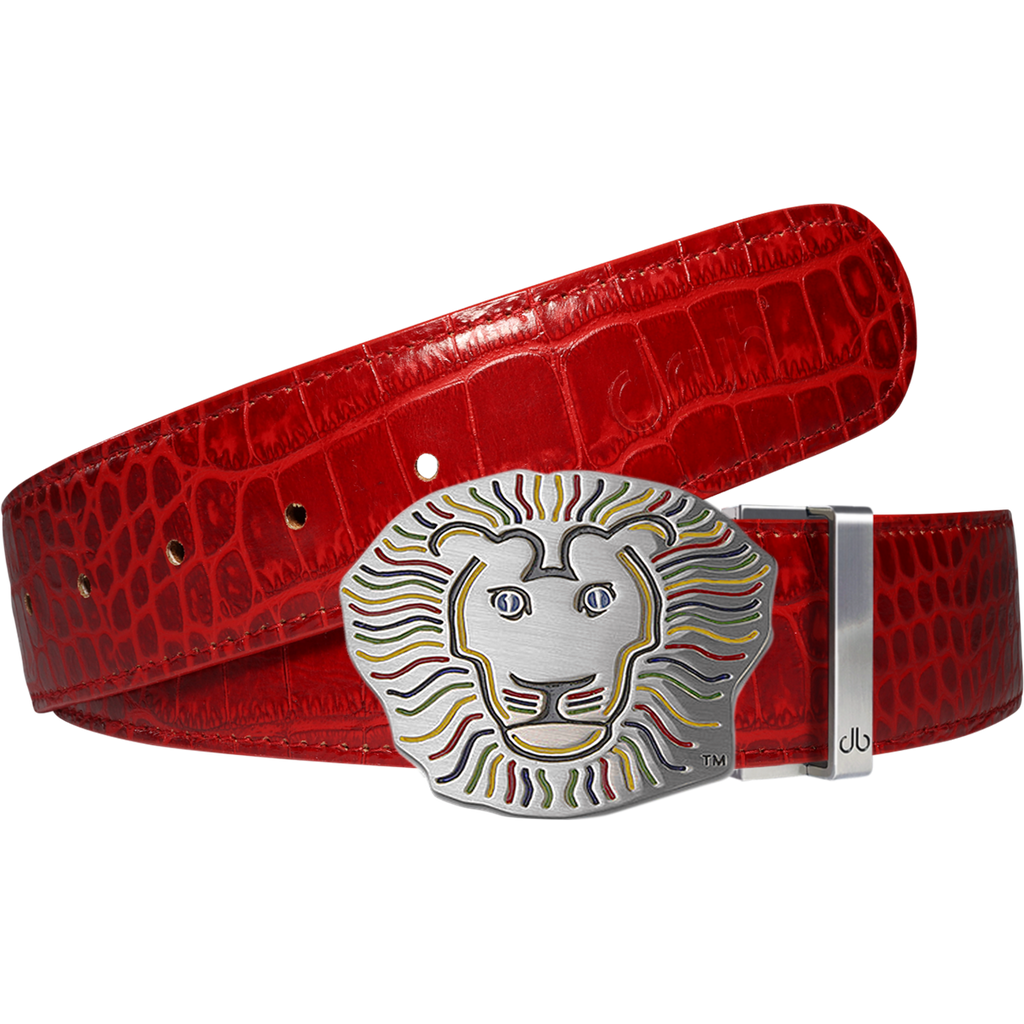John Daly Lion Buckle and Crocodile Leather Belt in Red