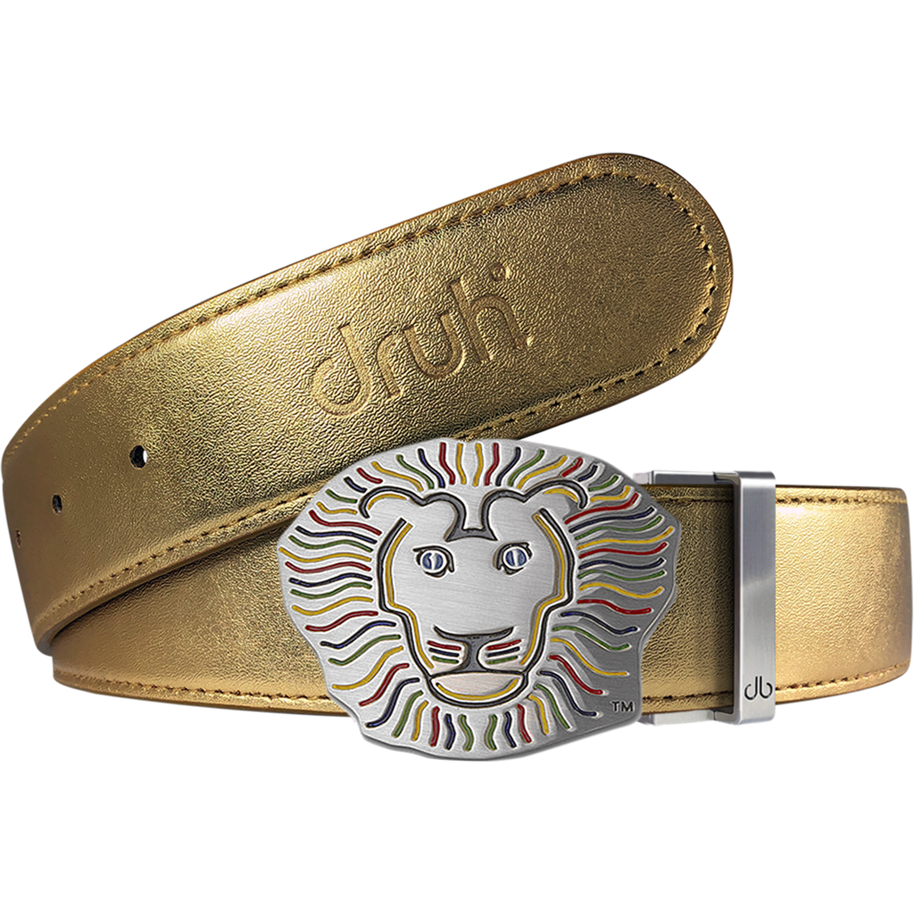 John Daly Lion Buckle and Plain Leather Belt in Gold