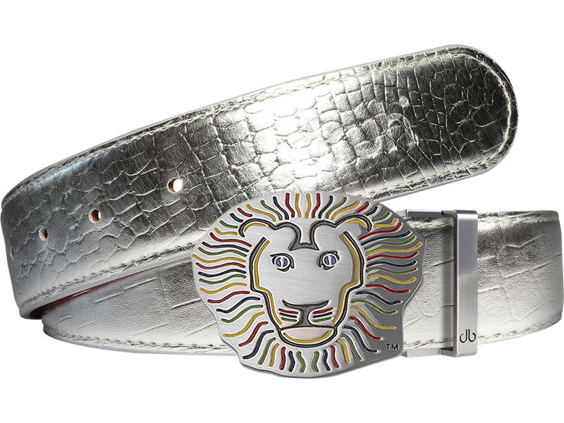 John Daly Crocodile Leather Belt in Silver