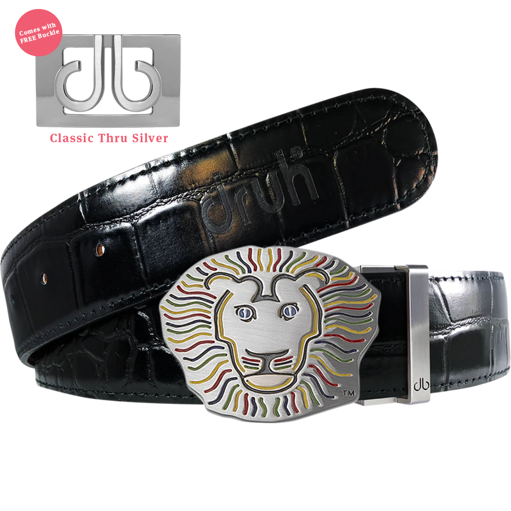 John Daly Lion Buckle and Black Crocodile Patterned Leather Belt