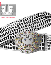 Black & White Crocodile Patterned Leather Belt with Lion Buckle