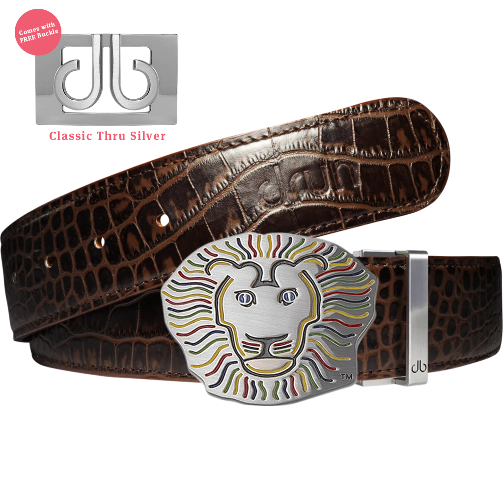 John Daly Lion Buckle and Dark Brown Crocodile Patterned Leather Belt