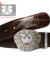 Dark Brown Crocodile Patterned Leather Belt with Lion Buckle