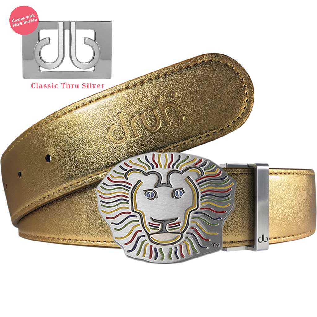 John Daly Lion Buckle and Gold Plain Leather Belt