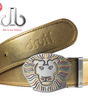 Gold Crocodile Patterned Leather Belt with Lion Buckle