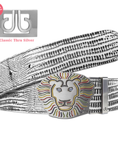John Daly Lion Buckle and Lizard Leather Belt in White and Black