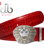 John Daly Lion Buckle and Red Crocodile Patterned Leather Belt
