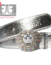 John Daly Lion Buckle and Silver Crocodile Patterned Leather Belt
