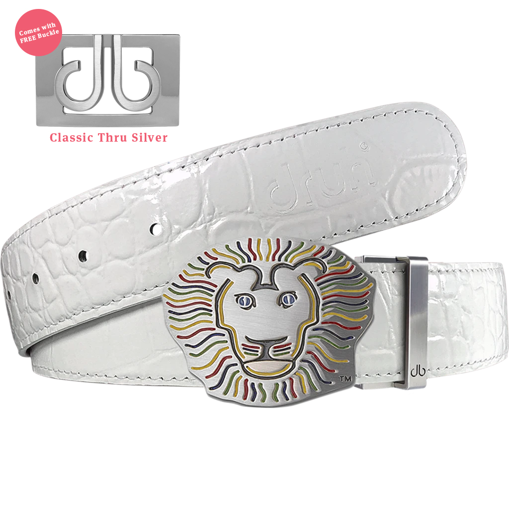 John Daly Lion Buckle and White Crocodile Patterned Leather Belt