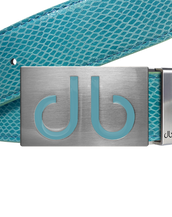 Aqua Snakeskin Leather Belt with Aqua Infill Buckle