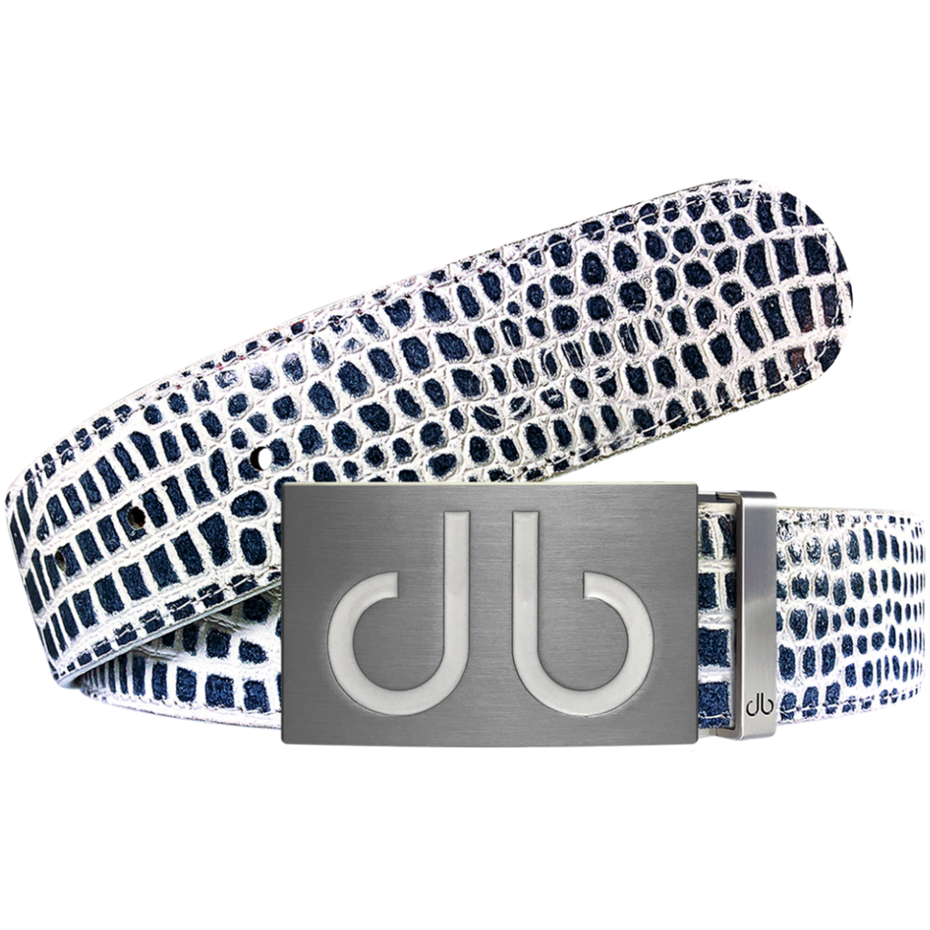 Blue and White Crocodile Textured Leather Belt with White Infill Buckle