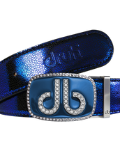 Blue Stingray Leather Belt with Blue Diamante Buckle