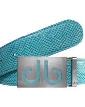Infill Aqua Buckle with Aqua Snakeskin Patterned Leather Belt