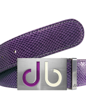 Purple Snakeskin Textured Leather Belt with Purple & White Two Toned Buckle