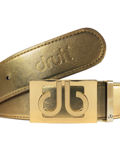 Gold Plain Textured Leather Belt with Gold Thru Buckle