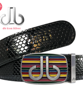 Black Shiny Snakeskin Patterned Leather Belt with Multi-color Striped Buckle