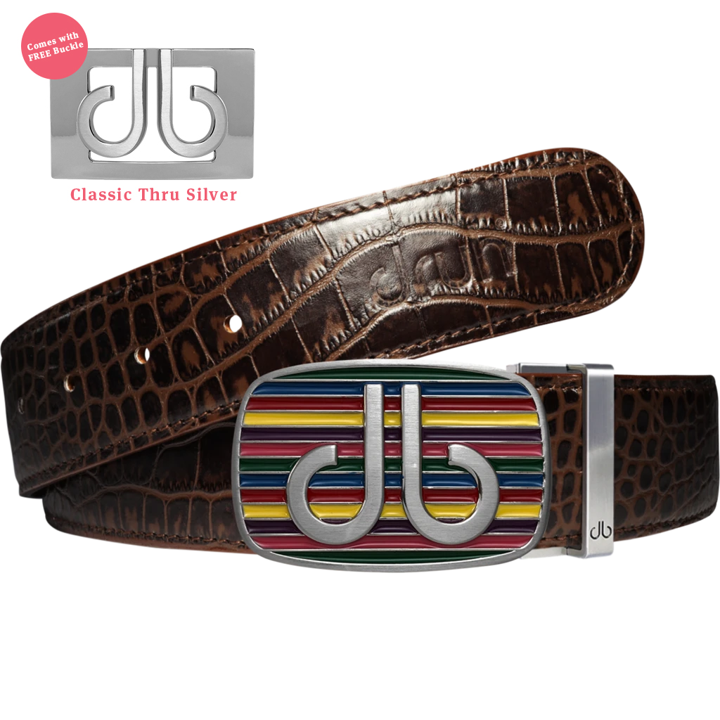 Multi-color Striped Buckle with Dark Brown Crocodile Patterned Leather Belt